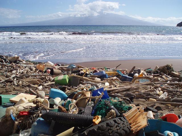 Marine debris laden beach in Hawaii