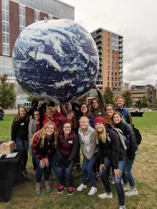 We've got the earth in our hands! Photo by Office of Sustainability intern team.
